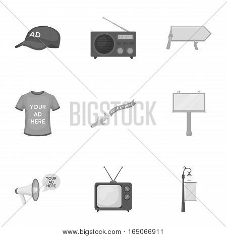 Advertising set icons in monochrome design. Big collection of advertising vector symbol stock illustration