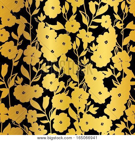 Vector Golden Black Flowers Blossoms Kimono Seamless Pattern Background. Great for elegant fabric, cards, wedding invitations, wallpaper. Surface pattern design.