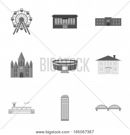 Building set icons in monochrome style. Big collection of building vector symbol stock