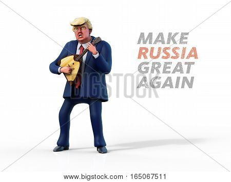 January 13 2017: Character portrait of Donald Trump playing russian balalaika. 3D illustration