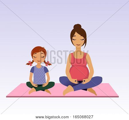 Pregnant women and little girl doing yoga. Asana pose and healthy lifestyle on lotus background. Vector illustration