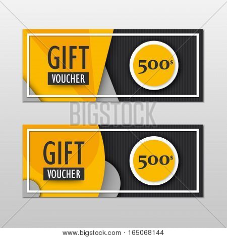 Vector modern gift voucher template set in material design style. Gift coupon, card, invitation, certificate, ticket etc. Vector EPS10 illustration.