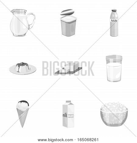 Milk product and sweet set icons in monochrome design. Big collection of milk product and sweet vector symbol stock illustration