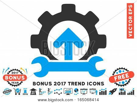 Blue And Gray Gear Integration Tools icon with bonus 2017 year trend images. Vector illustration style is flat iconic bicolor symbols white background.