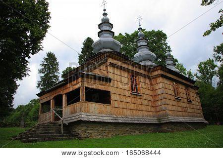 The wooden church of St. 1824. Nicholas Rzepedz (Poland, Podkarpackie Province, Bieszczady). Orthodox tripartite style Lemko.