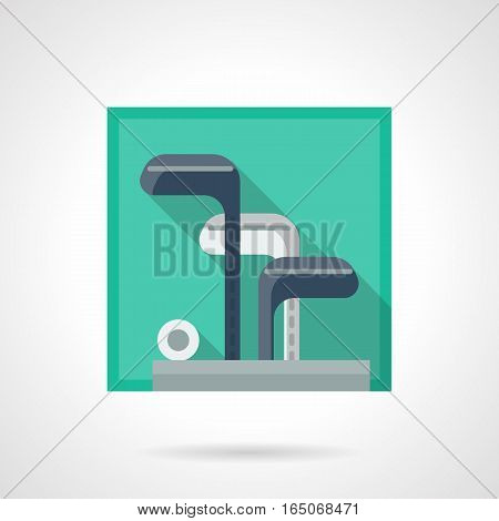 Close-up image of steel clubs and putters in a bag. Personal kit of golf equipment. Golfing concept. Store of sport items. Square flat design vector icon.