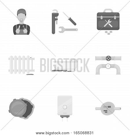 Plumbing set icons in monochrome style. Big collection of plumbing vector symbol stock