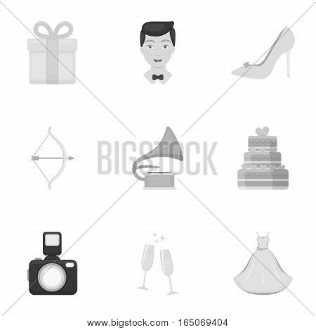 Weeding set icons in monochrome style. Big collection of wedding vector symbol stock