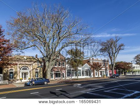 View To Main Street In East Hampton With Old Victorian Wooden Building
