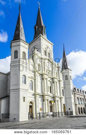 Beautiful Saint Louis Cathedral In The French Quarter In New Orleans, Louisiana.