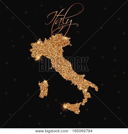 Italy Map Filled With Golden Glitter. Luxurious Design Element, Vector Illustration.