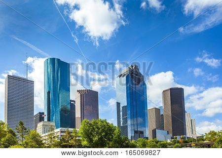 Skyline of Houston Texas in daytime under blue sky