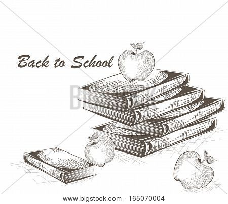 Back to school. Apple and Books engraving style. Engrave hatch lithography drawing collection