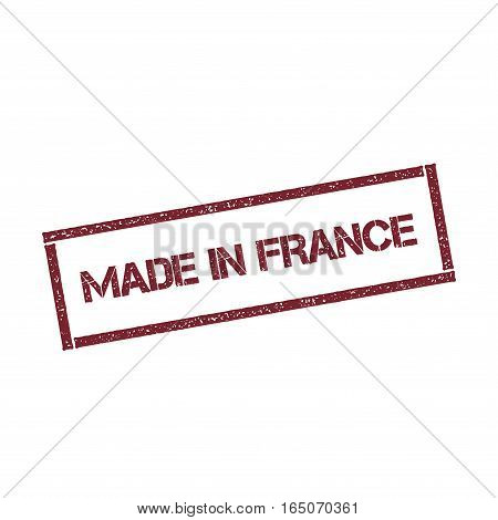 Made In France Rectangular Stamp. Textured Red Seal With Text Isolated On White Background, Vector I