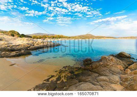 The Sea And The Pristine Beaches Of Chia, Sardinia, Italy.