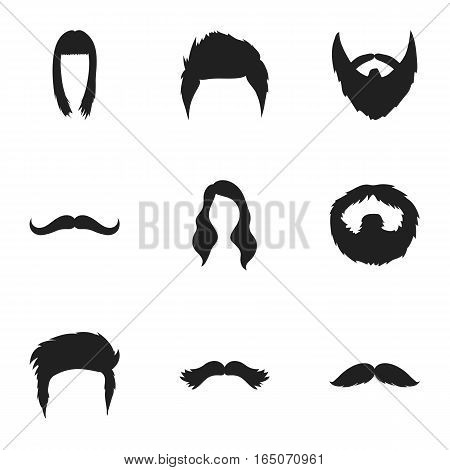Beard set icons in black style. Big collection of beard vector symbol stock