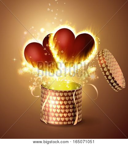 Box With two Hearts with flame burning inside in retro style Background, Vector Illustration
