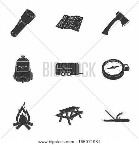 Camping set icons in black design. Big collection of camping vector symbol stock illustration