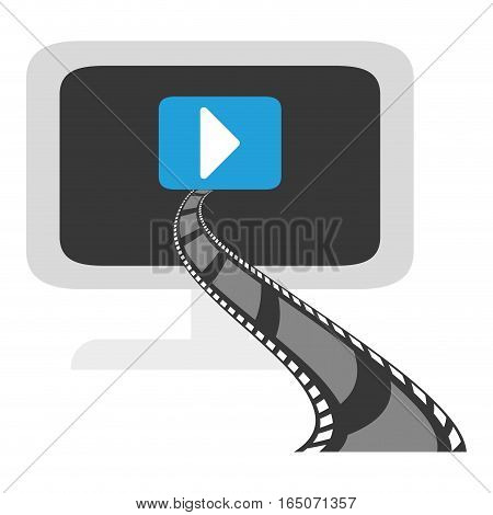 monitor computer with video player button on screen over white background. entertainment and technology concept. colorful design. vector illustration
