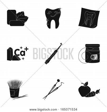 Dental care set icons in black design. Big collection of dental care vector symbol stock illustration