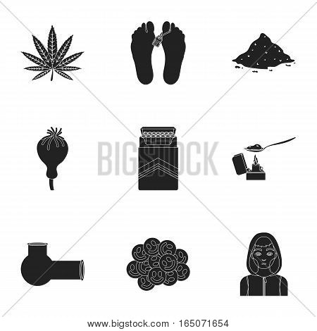 Drugs set icons in black style. Big collection of drugs vector symbol stock