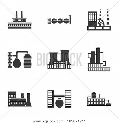 Factory set icons in black style. Big collection of factory vector symbol stock