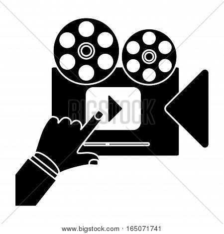 old movie film camera with video player icon over white background. entertainment and technology design. vector illustration