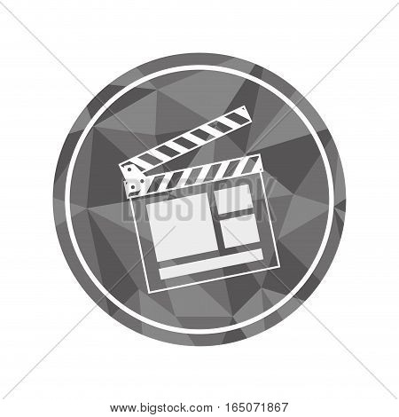 button with clapboard icon over white background. vector illustration