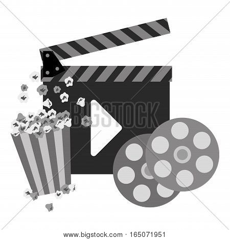 clapboard with play button and film reel and pop corn over white background. entertainment and technology design. vector illustration