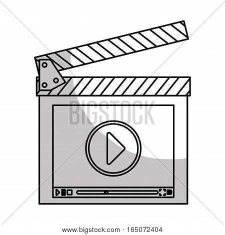 clapboard with play button over white background. entertainment and technology design. vector illustration
