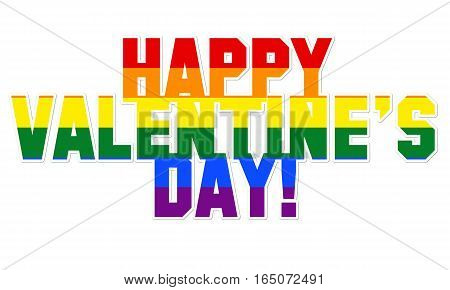 Happy Valentine's day illustration with LGBT colors