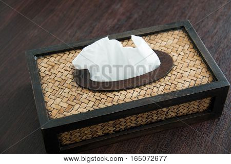 A tissue paper box made by basketry bamboo