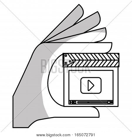 hand with clapboard with play button over white background. entertainment and technology design. vector illustration