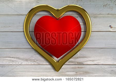 rendered red heart in golden heart on the old dried planks, 3d rendering