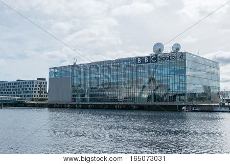 Glasgow, United Kingdom - September 17, 2016 : Bbc Scotland And Buildings Along Clyde River In Glasg