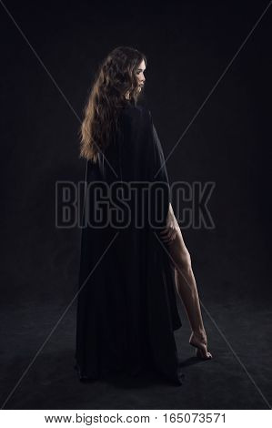 Beautiful Naked Gothic Girl In A Black Cloak
