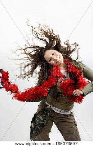 Woman isolated on white jumping and dancing.