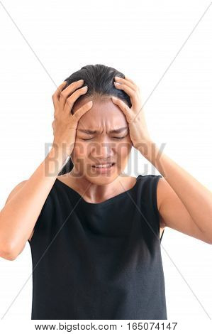 Stress Asian Woman Having A Migraine / Headache Holding Her Head In Pain And Stress