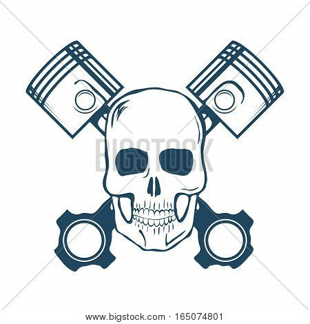 Skull and Pistons. t-shirt graphic. Vector Illustration