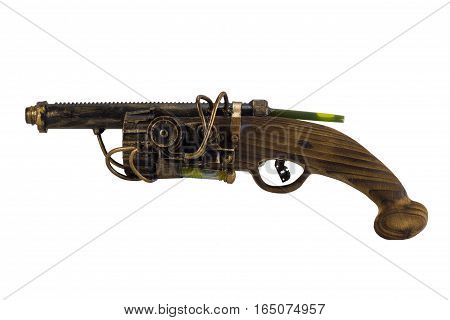 Steam punk gun handmade with wooden handle. Steam punk gun. wooden handmade gun.