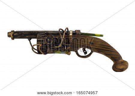 Steam punk gun handmade with wooden handle. Steam punk gun. wooden handmade gun.
