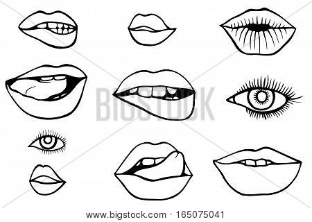 Fashion patch set with lips and eyes. Set of stickers and patches