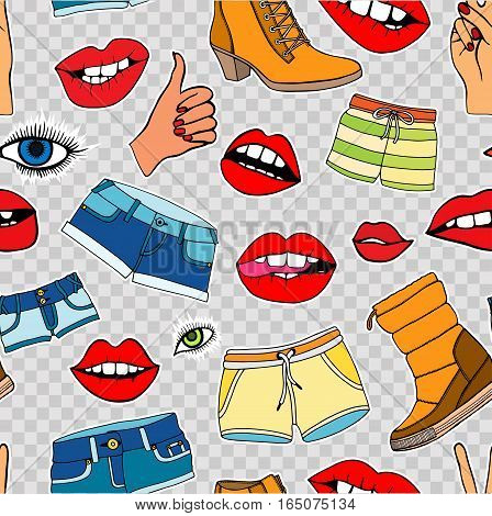 Seamless pattern with fashion patch badges. Vector background with stickers, pins, patches in cartoon 80s-90s comic style.