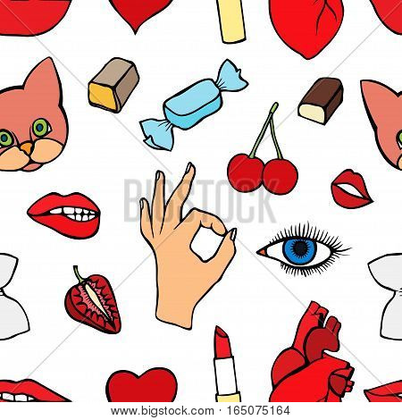 Fashion patch badges seamless pattern. Lips, kissing, open mouth, hearts, hands. Vector illustration of sweet girl patches isolated. Set of textile stickers pins. 80 90 comic style