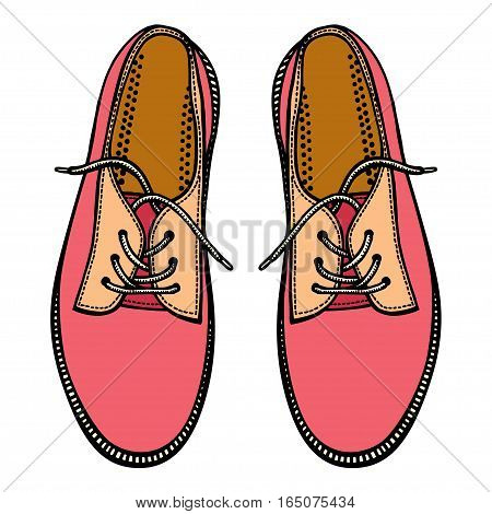 Vector illustration sports sneakers with white laces isolated on white background, hand drawn, top view