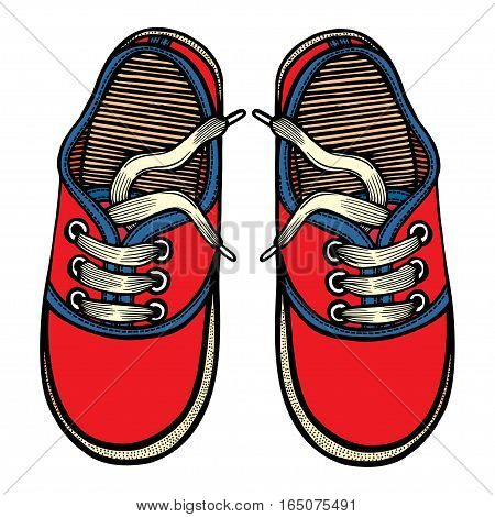 Vector illustration red and blue sports sneakers with white laces isolated on white background, hand drawn, top view