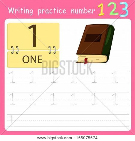 worksheet Writing practice number one for kid