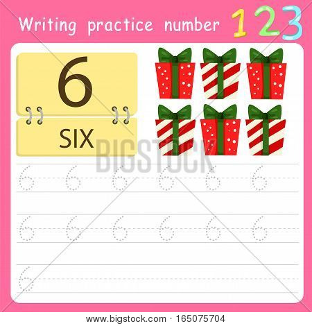 worksheet Writing practice number six for kid