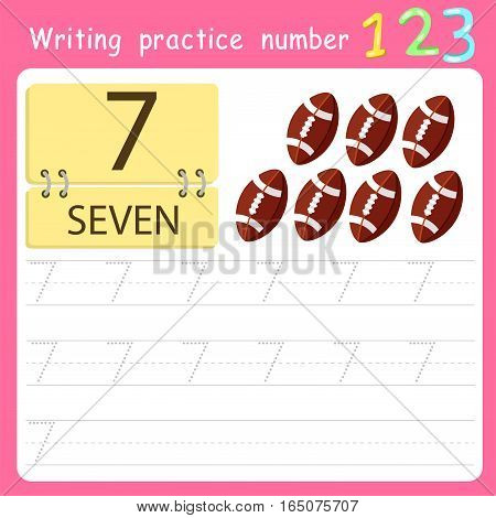 worksheet Writing practice number seven for kid