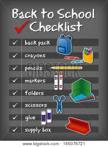 Checklist for back to school supplies, backpack, crayons, pencils, markers, folders, scissors, glue, supply box on chalkboard background.